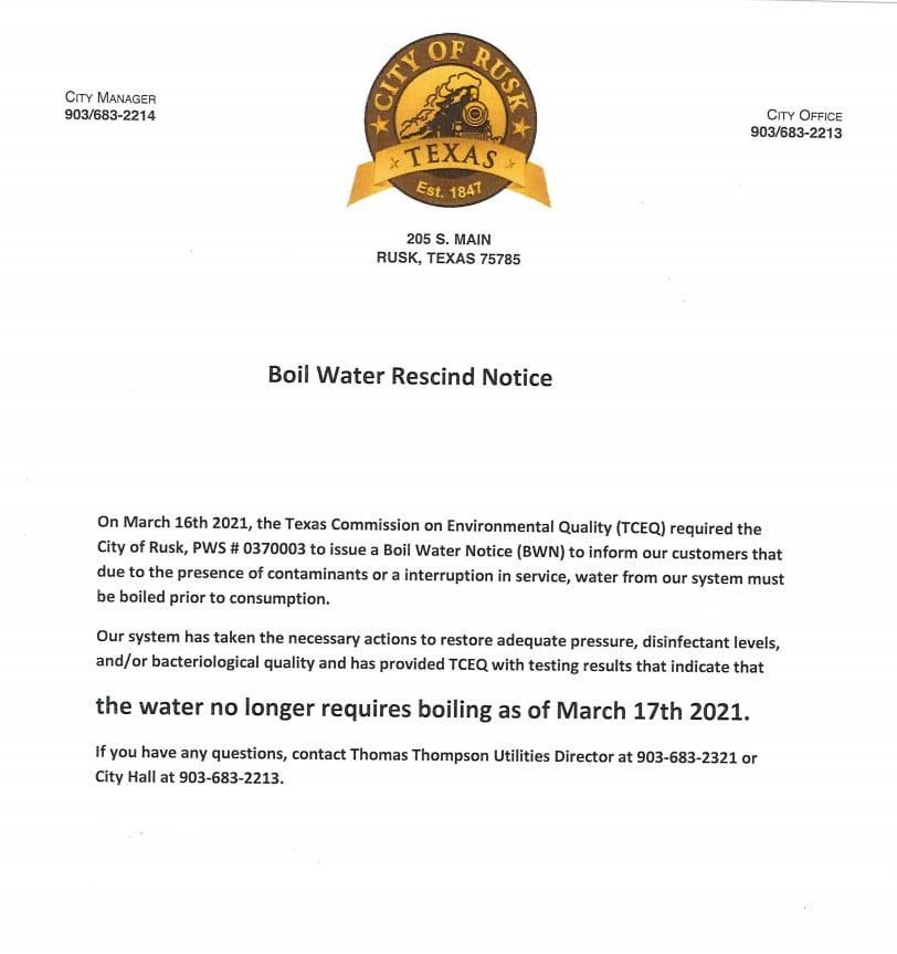 Boil Notice Rescinded